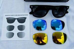 New Marlboro Sunglasses Three Interchangeable Color Lenses Gold Blue Black UV400