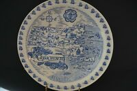 Antique Vernon Kilns State of Massachusetts Collectible Map Plate Blue White