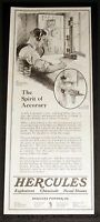 1921 OLD MAGAZINE PRINT AD, HERCULES POWDER, FIRING VELOCITY PRESSURE GUN, ART!