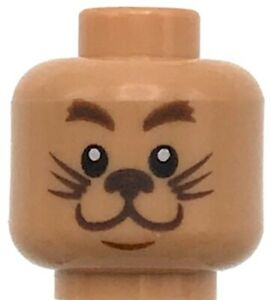 Lego New Flesh Minifigure Head Dual Sided Reddish Brown Eyebrows Cat Lion Face