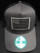 New Era Grey/Black Mesh Snapback Hat /  Cap With American Flag Grey Patch NE205