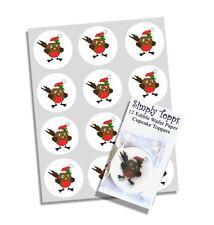 24 Natale Robin Decorazione per Cupcake Commestibili Decorazioni per torta PRECUT 40mm Xmas
