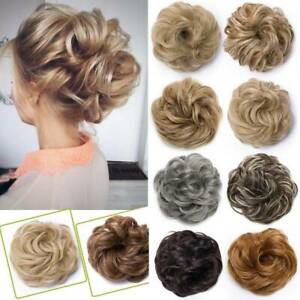 Real Thick Curly Messy Bun Hairpiece Scrunchie Hair Bun Extensions for Human FO