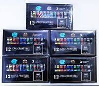 12 Color Lot of 5 Acrylic Paint Sets w/ Brushes - Brand New & FRESH! FREE SHIP!
