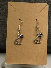 Cat On Silver tone Fishhook Wires Earrings With Silver Tone Silhouette of