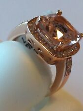 New Rose Gold plated .925 Sterling Silver cocktail Ring Cz Stones Size 7