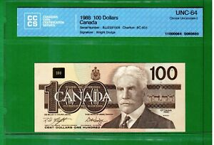Canada - 1988 Bank of Canada $100 Dollars BC-60d Banknote CCCS UNC-64 Choice UNC