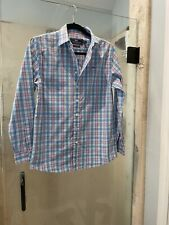 Vineyard Vines Button Down Whale Shirt Kids Large (16) Blue & White Pink Read