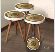 Beistelltisch Couchtisch Satztisch Glas Modell Design Gold-Muster 3'er