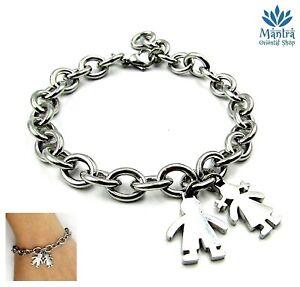 Bracciale donna in acciaio inox family famiglia bimbo bimba da braccialetto con
