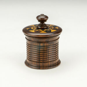 Antique Tunbridge Ware - Mosaic Inlaid Miniature Travel Inkwell Ink Bottle