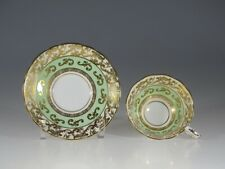 Royal Stafford Green with Gold Scroll Overlay Tea Cup and Saucer, England