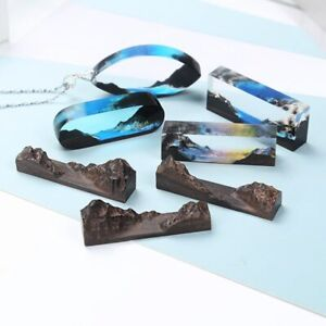 DIY Crystal Resin Molds Mountain Peaks Landscape Wood Bracelet