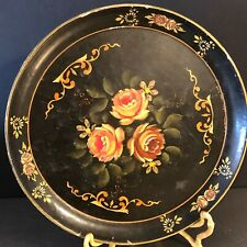 Toleware Tray Hand Painted Occupied Japan Floral Black Alcohol Safe Vintage