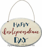 PBK Patriotic Decor - Tin Sign Happy Independance July 4th #29596