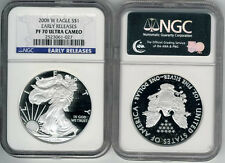 2008 W American Silver eagle Dollar NGC PF70 Ultra Came