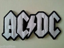 PUNK ROCK HEAVY METAL MUSIC SEW ON / IRON ON PATCH:- AC/DC (a) WHITE & BLACK