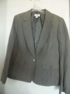 Talbots Olive Green Linen Silk Blazer  Jacket Career Classic  Sz 16