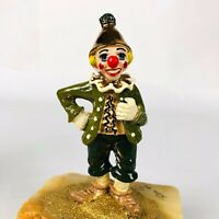 """Ron Lee Happy Clown Tin Funnel Hat Hand Signed 24k Gold 5.75"""" Tall 1980"""