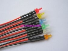 2mm Flat Top Diffused 12V Pre-Wired LED Red Yellow Blue Green White Orange 20CM