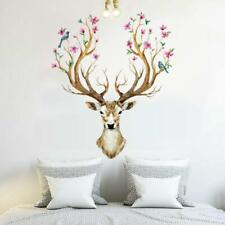 Deer Head Wall Decal Home Decor Living Room Flowers Stickers Fashion LC
