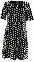 Isaac Mizrahi Live! Elbow Sleeve T-Shirt Dress (Black Dot, Size 1X) A307531