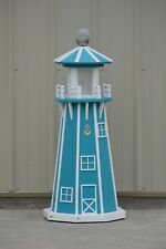 "39"" Octagon Electric and Solar Powered Poly Lighthouse Aruba Blue / White trim"