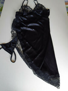 Hot<>Black > Baby Doll + Mid Night-Lingerie +G String<>Size Med Nylon Lace/1280