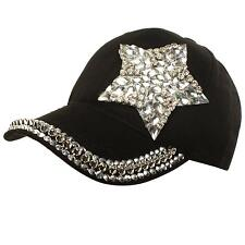 Star Jewel Rhinestone Bling Studs Sparkle Baseball Ball Cap Hat Adjustable Black
