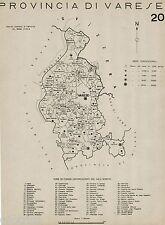 Provincia Varese:Tutti i Comuni nel 1938,Carta Topografica.Anno XVI Era Fascista