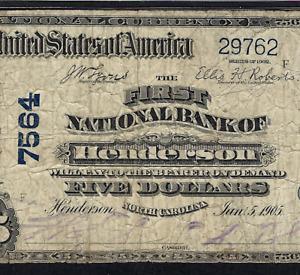NC 1902 $5 ♚♚HENDERSON, NORTH CAROLINA♚♚ PMG CH FINE 15