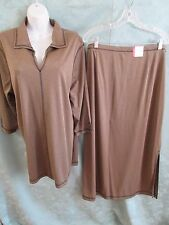 90's Avenue Knit Tunic Top & Skirt Set Top Stitched Size 18/20 NWT Green