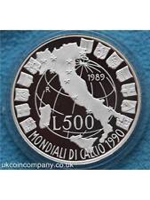 1990 ITALIA CAMPIONATI MONDIALI DI CALCIO ITALIA MONETE D'ARGENTO PROOF l200 BOX CERT