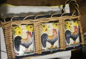 Decorative Square Woven Grass Wicker Ceramic Chickens Basket with Handles