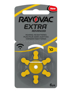 Rayovac Extra Advanced New Hearing Aid Batteries 1 Pack 6 Cells No 10 13 312 675