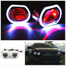 "2.5"" LED Angel Eye HID Bi-Xenon Projector Lens Headlight Kit Red Devil Demon Eye"
