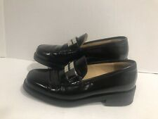 Gucci Womens Chunky Block Heel Loafer Pumps Black Size 5.5 B Leather Size