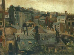 Oil painting Vincent Van Gogh - View of the Roofs of Paris nice cityscape canvas
