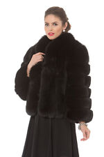 "Black Fox Fur Bolero Jacket for Women 22"" - The Marilyn"