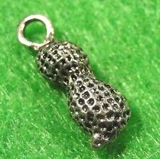 50Pcs. WHOLESALE Tibetan Silver 3D PEANUT Charms Pendants Earring Drops Q0116