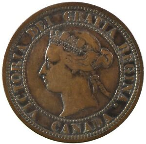 Canada: Victoria  1881 H Large Cent, Better Grade, Collectible VF.