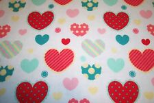 Hearts Baby Flannel Blanket XL Receiving Swaddling Colorful New Handmade