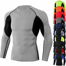 Mens Compression Shirt Base Layer Long Sleeved Activewear Moisture Wicking Tops
