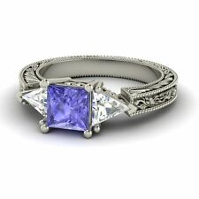 Topaz 14k Gold Vintage Inspired Ring Certified Princess Cut Tanzanite & White