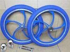"20"" BMX Bike Bicycle Blue Alloy Mag Wheel Set + Tyres + Inner Tubes + Freewheel"