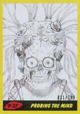 Mars Attacks The Revenge Yellow [199] Pencil Art Base Card P-37 Probing the Mind