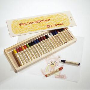 Stockmar Wachsmalstifte 24 Farben Wachsmaler Wachsmalkreide in Holzkassette II