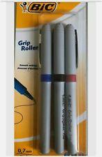 3 X Bic Grip Roller Ball Pens 07 Fine Black Blue Red Comfort Grip Fast Dispatch