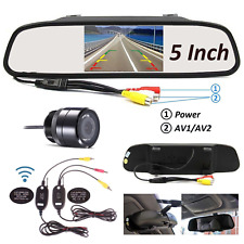 "REAR VIEW MIRROR MONITOR 5"" CAR BACK UP REVERSE WIRELESS CAMERA PARKING SYSTEM"