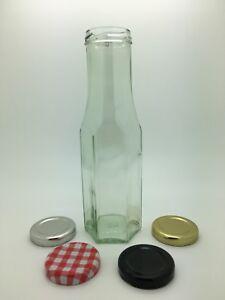 6 x 250ml Hexagonal Glass Sauce Bottles  - Dressing, Oil, Relishes - 43mm lids